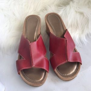 Super cute red sandal wedges